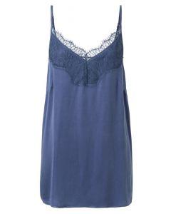 Top YAYA cupro blend strap washed indigo blue
