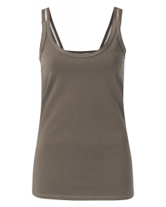 Top YAYA cotton singlet with straps chocolate