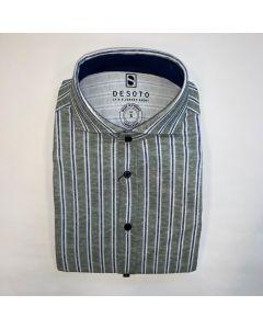 Overhemd DESOTO New Hai 1/1 green linen stripe